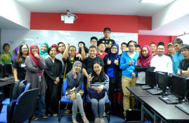 BTEC Diploma students with visiting speakers from a Brunei IT company